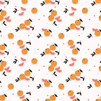 Свежий оранжевый бесшовные модели. концепция летних фруктов.