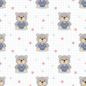 かわいい小さなクマのシームレスパターン