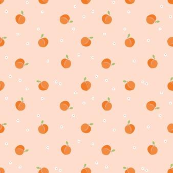 かわいい小さな桃のフルーツのシームレスパターン