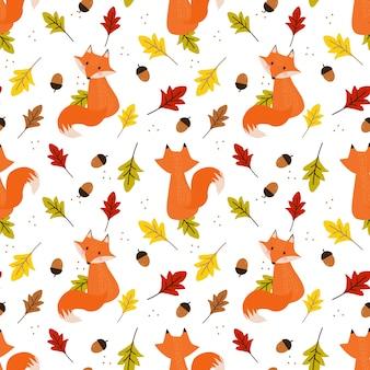 秋のかわいいキツネの葉のシームレスなパターン