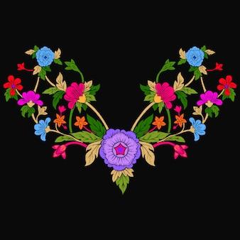 エスニック花の落書きネックライン刺繍