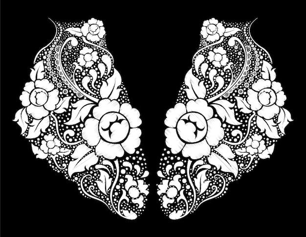 エスニックフローラルネック刺繍