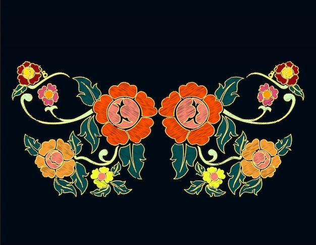 エスニック花落書きネックライン刺繍