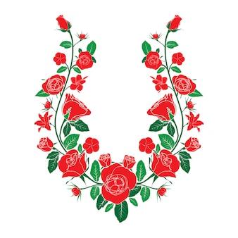 民族ネックライン刺繍バラ