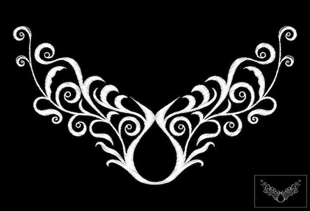 ネックラインエスニック刺繍
