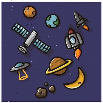 Симпатичный значок космос