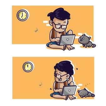 Комическая иллюстрация фрилансера