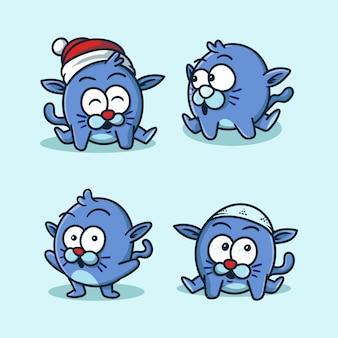 青猫のマスコットのロゴ
