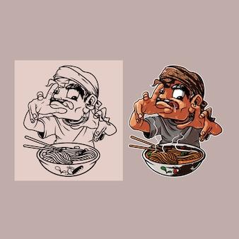 男は麺のイラストを食べる