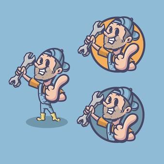 修理工のロゴのレトロなキャラクター