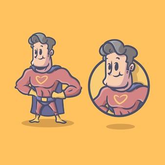 スーパーヒーローのレトロなキャラクターマスコット漫画