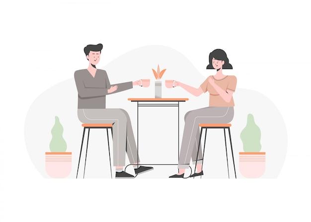 いくつかのコーヒーで夕食を取るカップル。カップルのデート、カップルでの食事、カップルでの会話、カップルでのディナー。フラットの図。