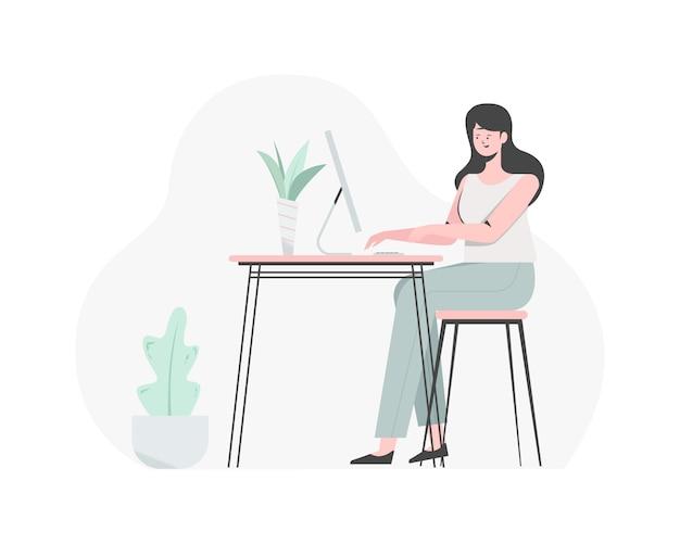 彼女のスタジオデザイン、彼女のコンピューターでのデザインと編集に取り組んでいる女の子。フラットイラスト