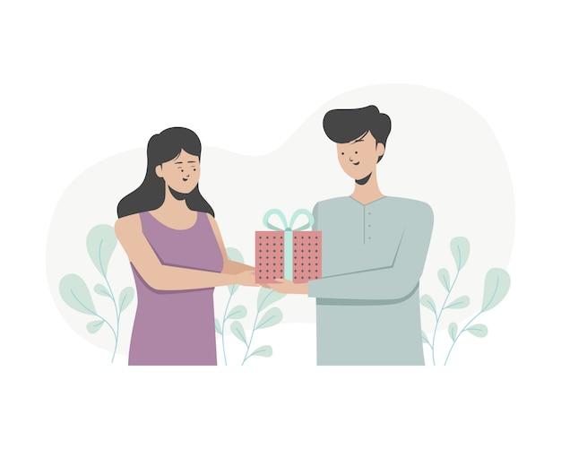 男は彼のガールフレンドに贈り物を与えます。女性は贈り物を受け取ります。誕生日会。フラットの図。