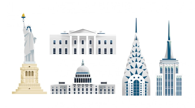 アメリカ合衆国の建物のイラスト
