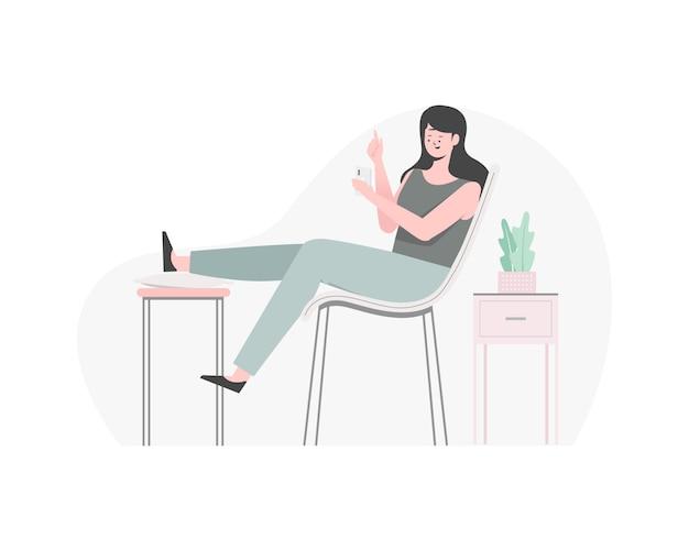 彼女の電話で遊ぶ女性、誰かとチャットの女性。椅子でリラックスできる女性。フラットの図。
