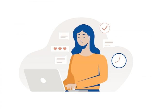 ノートパソコンに入力する女性。働く女性。フラットの図。