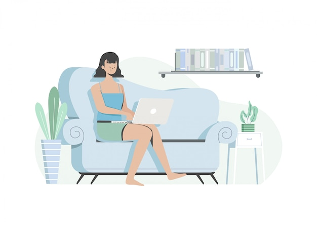 居間でノートパソコンを操作する女性、家で仕事をする、自宅で仕事する。家にいます。フラットの図。