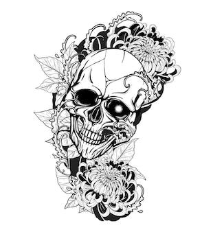 手描きで菊のタトゥーと頭蓋骨