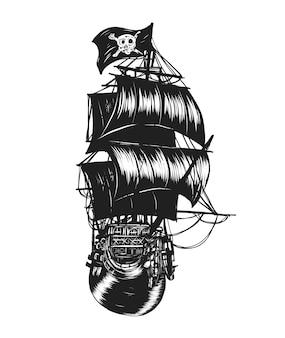 Пиратский корабль вектор от руки рисунок.