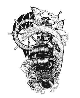 手描きで船のベクトルの入れ墨をした海賊スカル。