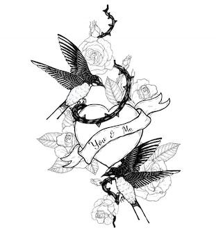 手描きでハートベクトルタトゥーを飲み込む