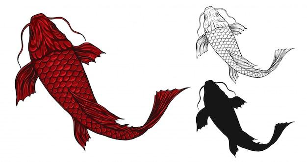 Татуировка рыбы-кои от руки