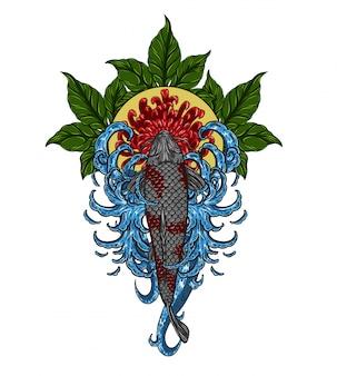 手描きによる菊ベクトルタトゥーと鯉の魚