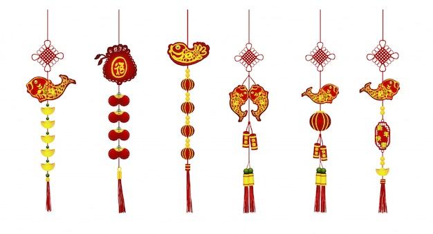 Китайское художественное оформление нового года установлено на белом фоне.