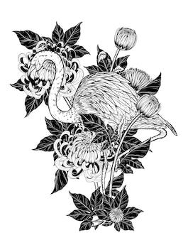 手描きの菊ベクトルとフラミンゴ