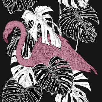 手描きのフラミンゴ模様のモンステラ