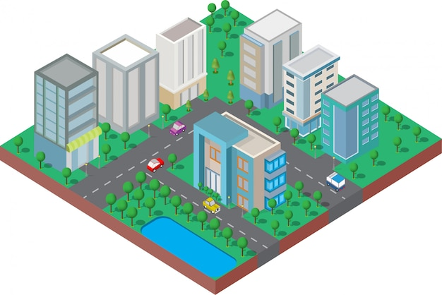 Изометрические они на дворе с дорогой и деревьями. умный город и общественный парк