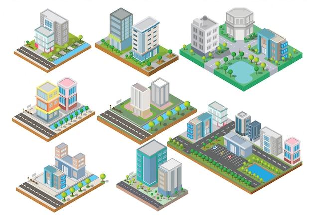 Набор изометрических зданий с двором, рекой, дорогой и деревьями