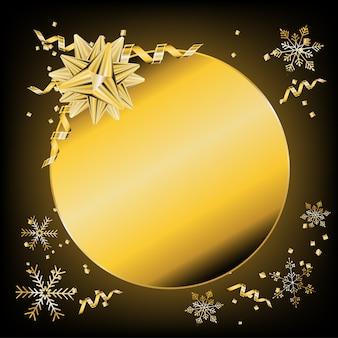 Золотая рамка с лентой лука и снегом