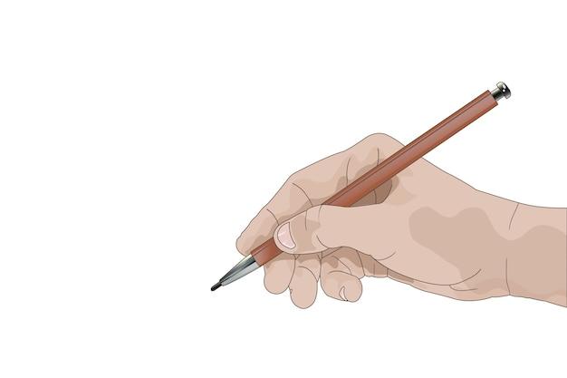 Рука с карандашом, пишущим что-то изолированное