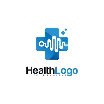 青色で隔離された健康のパルスのロゴテンプレート
