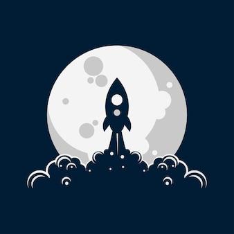 ロケット月の打ち上げイラストロゴ