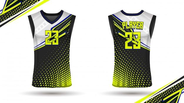 バスケットボールシャツのデザイン、前面と背面