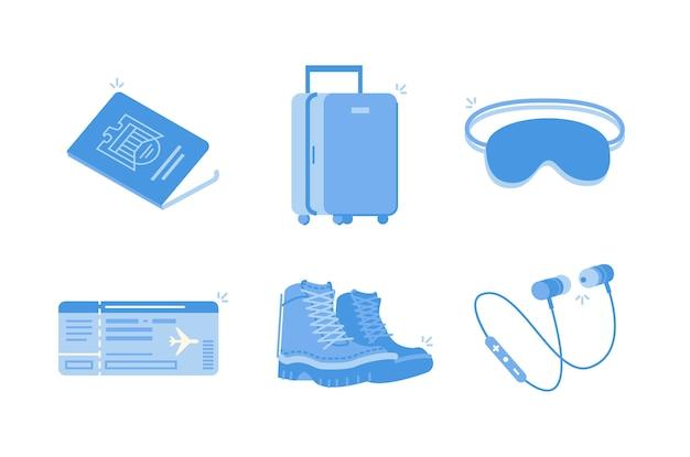 旅行の必需品のイラスト