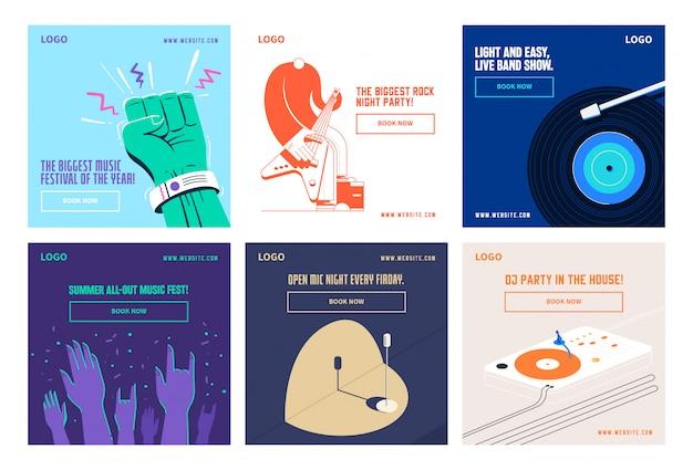 Музыкальные социальные медиа пост коллекция инстаграм