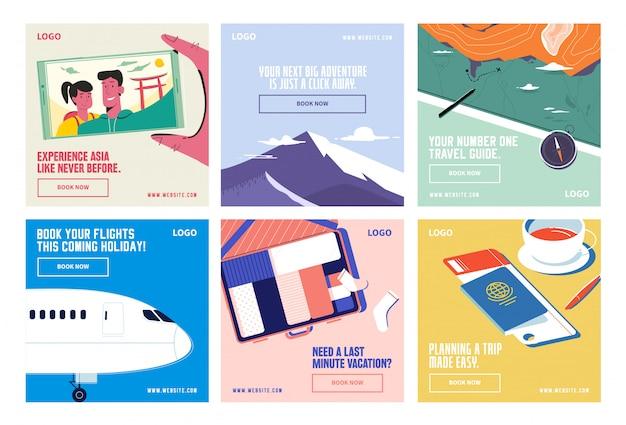 Путешествия отпуск социальные медиа пост коллекция инстаграм
