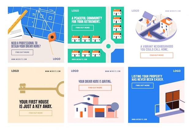 Недвижимость жилье социальные медиа пост коллекция инстаграм