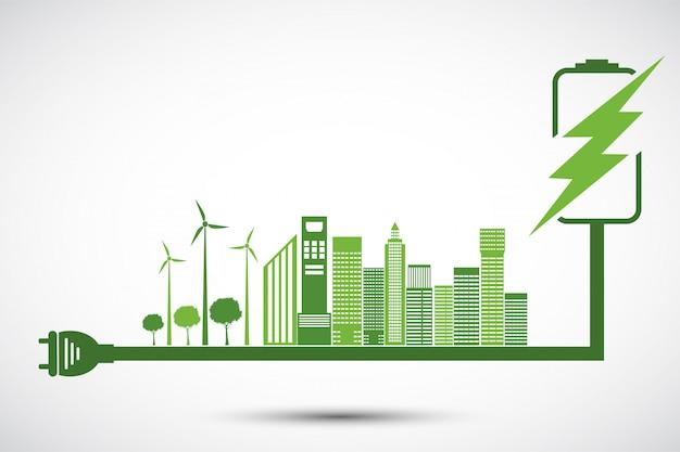 エコロジーと環境の概念、緑の葉を持つ地球のシンボル