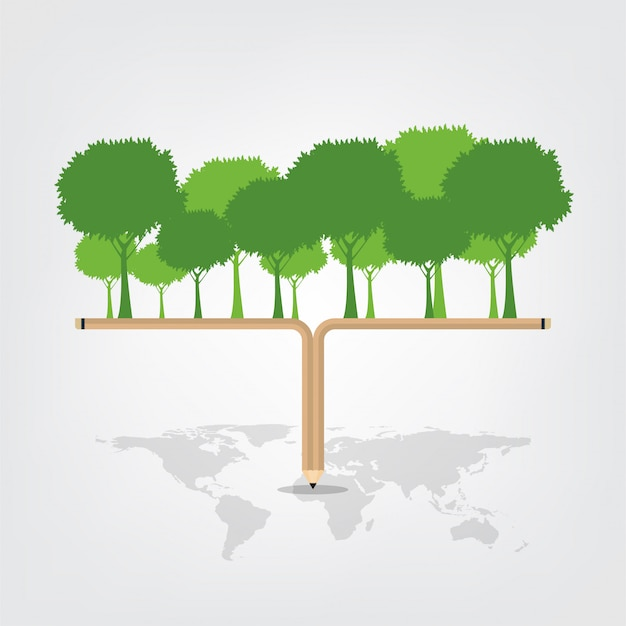 コンセプト都市の周りの緑の葉を持つ世界環境と地球のシンボル