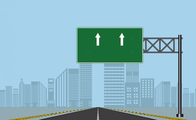 Дорожные дорожные знаки, зеленая доска на дороге