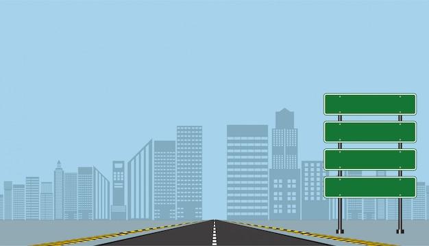 Дорожные знаки шоссе, зеленая доска на дороге, векторная иллюстрация