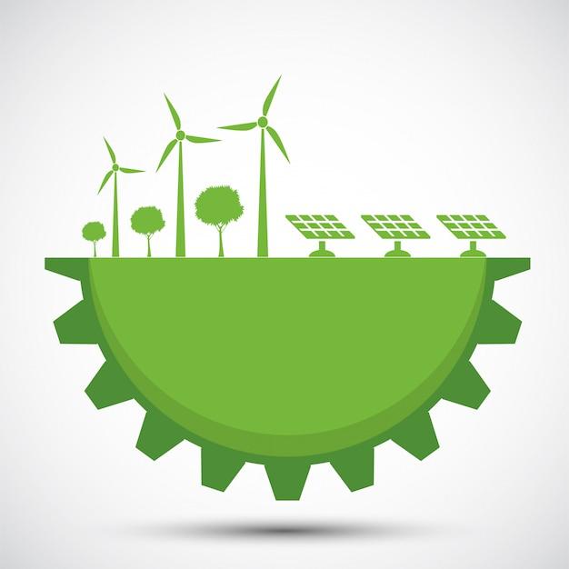 都市の周りの緑のギアと地球のシンボルは、環境に優しいアイデアで世界を助けます