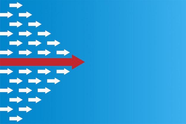 方向矢印赤と白の紙と青色の背景にルート線でリーダーシップや異なる概念を持っている