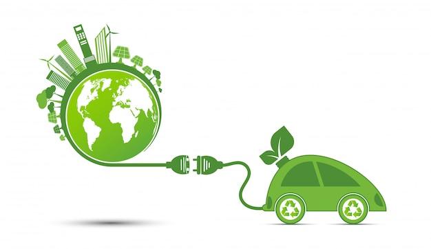 エネルギーのアイデアが世界の概念を救う電源プラググリーンエコロジーリサイクル