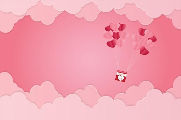 バレンタインの日、空に浮かぶハート形の風船、ピンクの背景、ペーパーアート